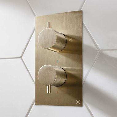 Crosswater MPRO 2 Outlet Concealed Thermostatic Shower Valve - Brushed Brass