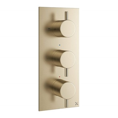 Crosswater MPRO 2 Outlet Concealed Thermostatic Shower Valve - Brushed Brass (3 Handles)