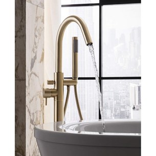 Crosswater MPRO Floorstanding Bath and Shower Mixer with Shower Kit - Brushed Brass