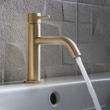 Crosswater MPRO Mono Basin Mixer with Knurled Detailing - Brushed Brass