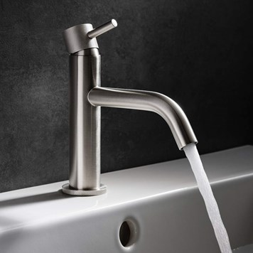 Crosswater MPRO Mono Basin Mixer with Knurled Detailing - Brushed Stainless Steel