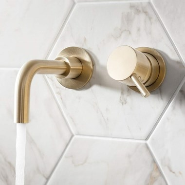 Crosswater MPRO Wall Mounted Basin Mixer Tap - Brushed Brass