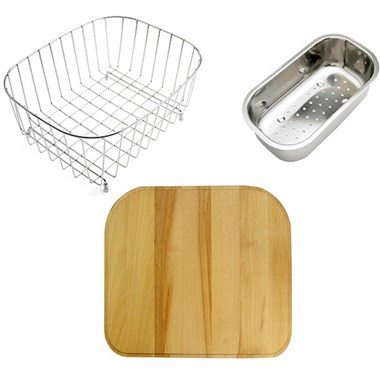 Astracast MSK2 1.5 Bowl Accessory Pack With Grid, Chopping Board & Colander - Stainless Steel