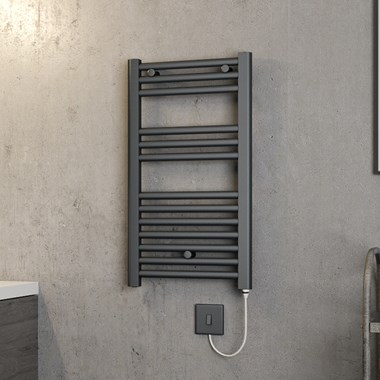 Brenton Hestia Electric Straight Anthracite Heated Towel Rail - 720 x 400mm