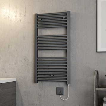 Brenton Hestia Electric Straight Anthracite Heated Towel Rail - 920 x 480mm