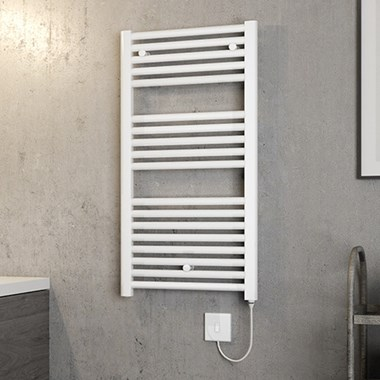 Brenton Hestia Electric Straight White Heated Towel Rail - 920 x 480mm