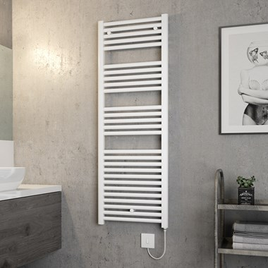 Brenton Hestia Electric Straight White Heated Towel Rail - 1375 x 480mm