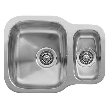 Reginox Nebraska 1.5 Bowl Stainless Steel Undermount Kitchen Sink & Waste - Reversible