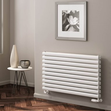 Reina Nevah Horizontal Double Panel Designer Radiator - White