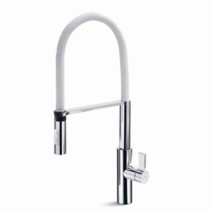 Newform Pura Single Lever Sink Mixer with Swivel Spout & Adjustable Spring - White
