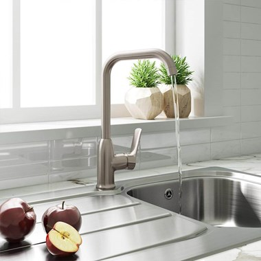 Harbour Single Lever Mono Kitchen Mixer - Brushed Stainless Steel