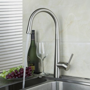 Vellamo Stature Single Lever Mono Kitchen Mixer - Brushed Stainless Steel