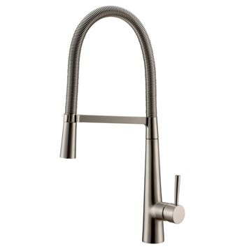Vellamo Pull Out Mono Kitchen Mixer - Brushed Stainlesss Steel