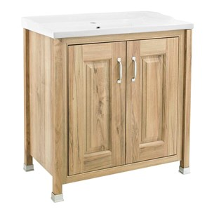 Old London 800mm Natural Walnut Freestanding Vanity Unit