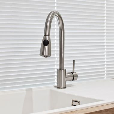 nuie Swan Neck Pullout Kitchen Spray Tap - Brushed Steel