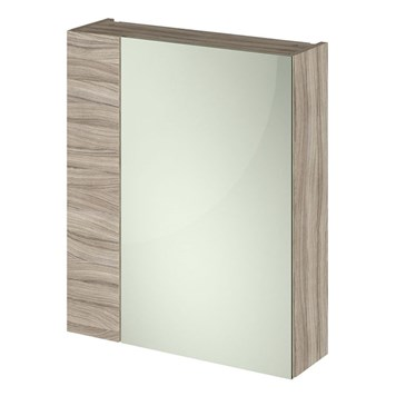 Drench Emily 600mm Mirror Cabinet with Offset Door - Driftwood