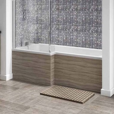 Drift 1700mm Square Shower Bath Panel - Driftwood
