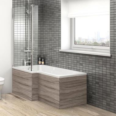 Drift 700mm Square Shower Bath End Panel - Driftwood