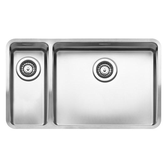 Reginox Ohio 1 5 Bowl Stainless Steel Kitchen Sink Waste With Left Hand Half Bowl 753 X 440mm Tap Warehouse