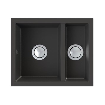 Astracast Onyx 1.5 Bowl Inset or Undermount Volcano Black Granite Composite Kitchen Sink & Waste Kit - 558 x 460mm