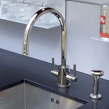 Perrin & Rowe Orbiq 2 Hole Dual Lever 'C' Spout Sink Mixer & Rinse