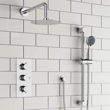 Drench Orla Concealed Shower Valve, Fixed Head & Slide Rail Kit