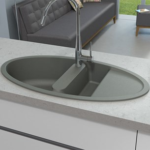 Astracast Oval 1.5 Bowl Granite ROK® Composite Sink & Waste Kit with Reversible Drainer - 1000 x 520mm