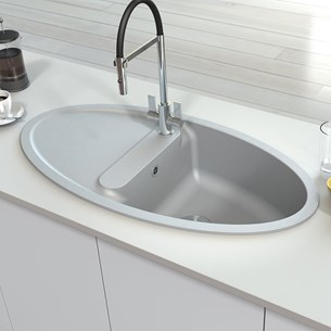 Astracast Oval 1 Bowl Granite ROK® Composite Sink & Waste Kit with Reversible Drainer - 1000 x 520mm