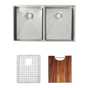 Astracast Onyx 4070 2 Bowl Flush Inset Feature Sink Pack With Chrome Wastes, Overflow, Pipework, Bowl Grids &  Chopping Board - Brushed Stainless Steel