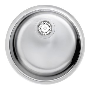 Astracast Onyx Flush Round 1 Bowl Sink (Inset/ Undermount) With Chrome Waste, Overflow & Undermount Kits - 430mm - Polished Stainless Steel