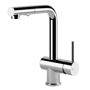Gessi Oxygen Single Lever Mono Kitchen Mixer with Swivel Spout & Pull Out Rinse