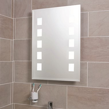 Phoenix Motion Sensor Back Lit Mirror With Shaver Socket & Demister Pad - 500 x 390mm