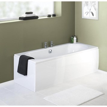 Plastic Straight Gloss White Bath Panel - 1600mm, 1700mm or 1800mm