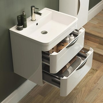 Parade 600mm Wall Mounted Vanity Unit with Polymarble Basin - White Gloss