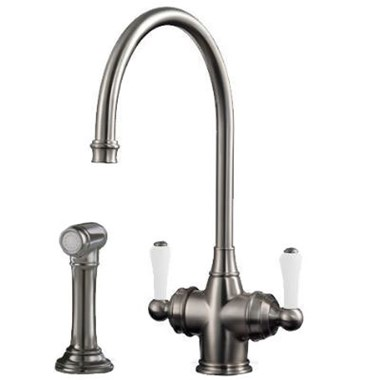 Perrin & Rowe Phoenician Mono Sink Mixer with Porcelain Lever Handles & Rinse - Pewter