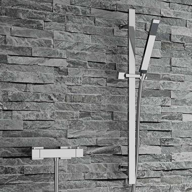 Paxi Square Thermostatic Bar Shower Valve & Slide Rail Kit