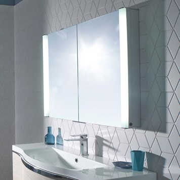 Roper Rhodes Perception LED Illuminated Recessible Mirror Cabinet with Shaver Socket