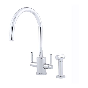 Perrin & Rowe Orbiq 2 Hole Dual Lever 'C' Spout Sink Mixer & Rinse - Nickel