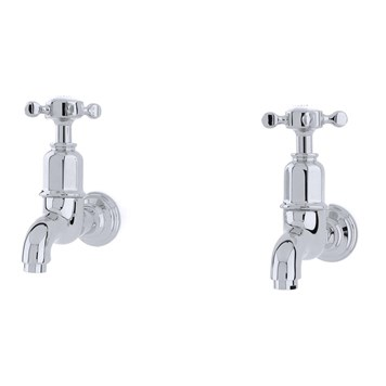 Perrin & Rowe Mayan Crosshead Wall Mounted Bibcocks (Pair) - Polished Nickel