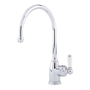 Perrin & Rowe Parthian Mono Sink Mixer With Porcelain Lever Handle & Swivel Spout