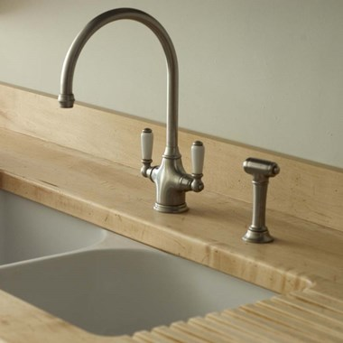 Perrin & Rowe Phoenician Mono Sink Mixer With Porcelain Lever Handles & Rinse