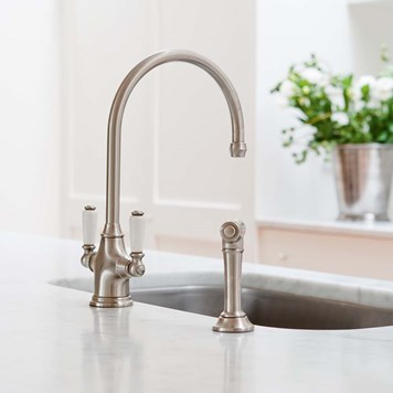 Perrin & Rowe Phoenician Mono Sink Mixer with Porcelain Lever Handles & Rinse - Nickel