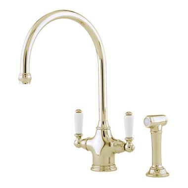 Perrin & Rowe Phoenician Mono Sink Mixer with Porcelain Lever Handles & Rinse - Gold