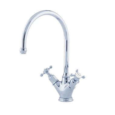 Perrin & Rowe Minoan Twin Crosshead Mono Sink Mixer with Swivel Spout - Chrome
