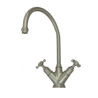 Perrin & Rowe Minoan Twin Crosshead Mono Sink Mixer with Swivel Spout - Pewter