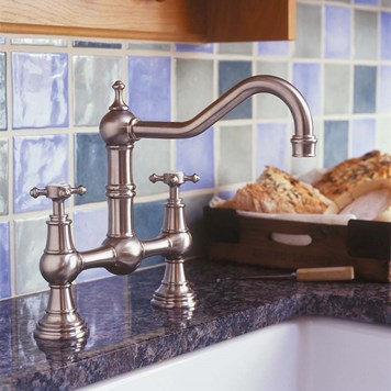 Perrin & Rowe Provence 2 Hole Bridge Sink Mixer With Crosshead Handles