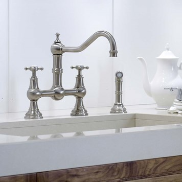 Perrin & Rowe Provence 2 Hole Bridge Sink Mixer with Crosshead Handles & Rinse - Polished Nickel