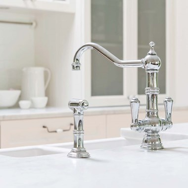 Perrin & Rowe Picardie Twin Lever Mono Sink Mixer with Rinse - Pewter