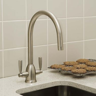 Perrin & Rowe Oberon Twin Lever Swivel 'C' Spout Sink Mixer - Pewter