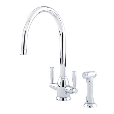 Perrin & Rowe Oberon 2 Hole Twin Lever Swivel  'C' Spout Sink Mixer & Rinse - Pewter